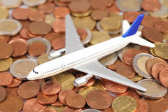 Airplane with money Stock Image