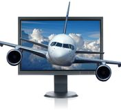 Airplane and monitor Royalty Free Stock Photo