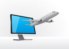 Airplane and monitor Royalty Free Stock Photos