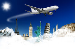 Airplane and monuments Stock Photography