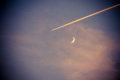 Airplane Moon. Sky Airplane Moon Background Journey Transportation Track Night High Velocity Royalty Free Stock Image