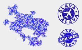Airplane Mosaic Vector Alava Province Map and Grunge Seals. Aircraft vector Alava Province map collage and grunge stamps. Abstract Alava Province map is done of stock illustration