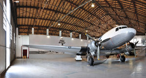 Airplane museum DC3 hangar Stock Photo