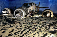 Airplane museum reconstruction plane crashed Stock Image