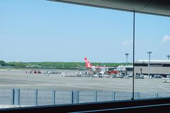 Airplane in Narita international airport royalty free stock photos
