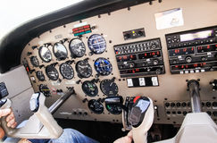 Airplane navigational controls. Royalty Free Stock Photography