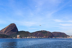 Airplane near Sugarloaf, Urca, Rio de Janeiro Stock Image