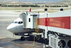 Airplane near the terminal Stock Photo