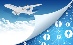 Airplane with network icons Royalty Free Stock Photography