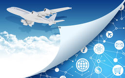 Airplane with network icons Royalty Free Stock Image