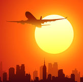 Airplane and New York sunset-vector Stock Image