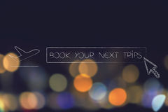 Airplane next to Book your next trip button Stock Photography