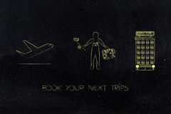 Airplane next to traveler and hotel icons Stock Photo