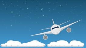 Airplane at Night Royalty Free Stock Photos