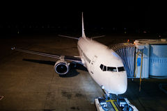 Airplane at night. An airplane at the night Royalty Free Stock Photos