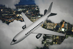 Airplane and night city. White airplane and illuminated night cityscape peeking through clouds. 3D Rendering Royalty Free Stock Photo