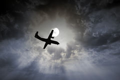 Airplane night flight Royalty Free Stock Photography