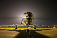 Airplane at night. Airplane front close-up at night Stock Photo