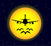Airplane at night. The airplane at the night sky Royalty Free Stock Photos