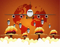 Airplane Nuclear - atom bombs falling on Earth. Paper art style Royalty Free Stock Photos