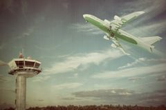 Airplane in old picture taking off. 3d illustration of an airplane taking off in old picture Stock Photo