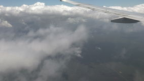 Airplane Outside View From Window Through Clouds stock video footage