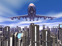 Airplane over city blocks. Background, 3D illustration of  departing airplane, jumbo jet 747 over city blocks Royalty Free Stock Images