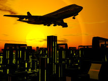 Airplane over city blocks. Background, 3D illustration of  departing airplane, jumbo jet 747 over city blocks against sunset, sunrise sky Stock Images