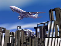 Airplane over city blocks. Background, 3D illustration of  departing airplane, jumbo jet 747 over city blocks Royalty Free Stock Photos