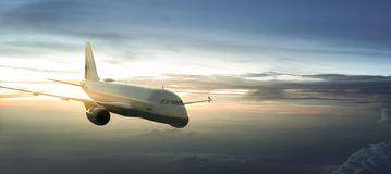 Airplane over the clouds. Airplane clouds fly transport landing stock photos