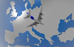 Airplane over Europe Royalty Free Stock Images