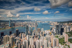 Airplane over Hongkong Stock Photography