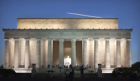 Airplane Over Lincoln Memorial Evening Washington Stock Photos