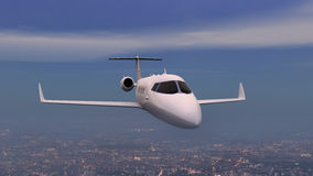 Airplane over night city Royalty Free Stock Images