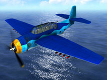 Airplane over the ocean Royalty Free Stock Photo