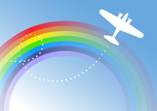 Airplane Over The Rainbow Royalty Free Stock Photography