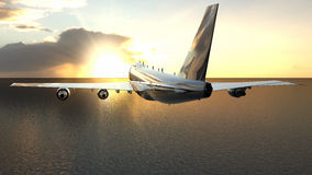 Airplane over the sea Royalty Free Stock Photo