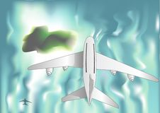 Airplane over the sea Royalty Free Stock Photography