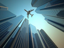 Airplane over skyscraper; Royalty Free Stock Photography