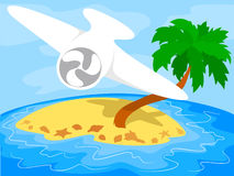 Airplane over a tropical island Stock Photo
