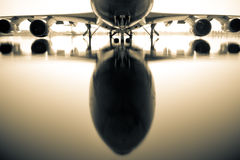Airplane over water. Airplane at the Donmaung International Airport in Thailand in the water from the floods Royalty Free Stock Photos