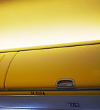 Airplane overhead luggage compartment Stock Images