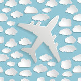 Airplane with paper clouds on a blue air Seamless  pattern Stock Photography