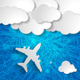Airplane with paper clouds on a blue striped background Royalty Free Stock Image