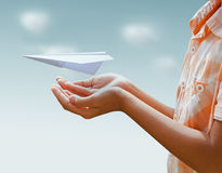 Airplane paper flights concept. Protection airplane paper flights concept Stock Photo