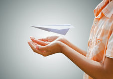 Airplane paper flights concept Royalty Free Stock Images