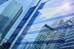 Airplane paper flying on window tower, leader business concept Royalty Free Stock Photos