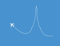 Airplane paris silhouette. Airplane leaving a silhouette of the Eiffel Tower in Paris Stock Photo