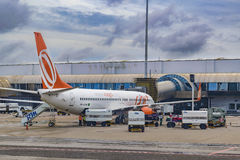 Airplane Parked at Fortaleza Airport Brasil Royalty Free Stock Photo