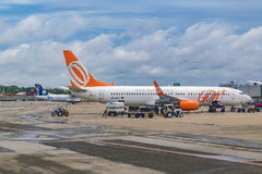 Airplane Parked at Fortaleza Airport Brasil Royalty Free Stock Images